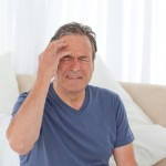 Man with a morning headache