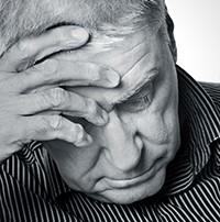 Senior man experiencing memory loss.