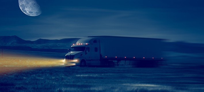 Night Truck Drive in Desert Area.
