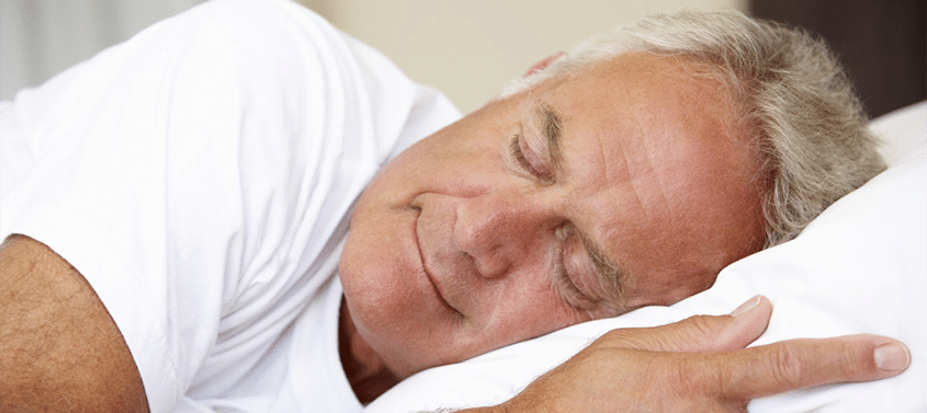 A man sleeping soundly thanks to his oral appliance