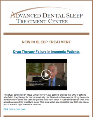 A flyer for the Advanced Dental Sleep Treatment Center discussing drug therapy
