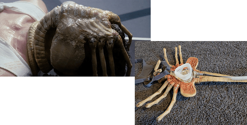 A scene straight from the movie Alien showing you a face hugger. On the right is an CPAP mask updated to look just like the character in the movie.